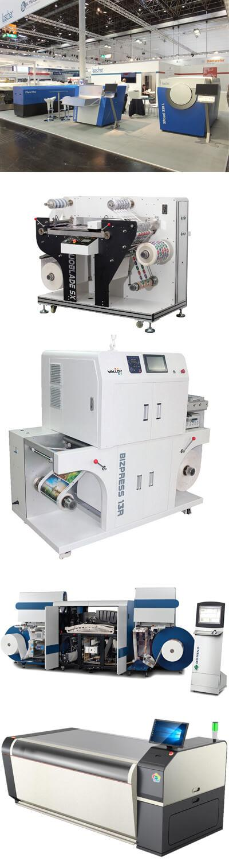 Alcuni dei sistemi nel catalogo NTG Digital: dall'alto, Luscher MDX; Valloy Bizpress 13R e Doubleblade SX; Domino 610i; Cron flexo 2000